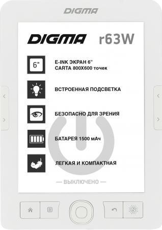 "Электронная книга Digma R63W 6"" E-Ink Carta 800x600 600MHz/4Gb/microSDHC/frontlight белый электронная книга reader book 2 6 белый"