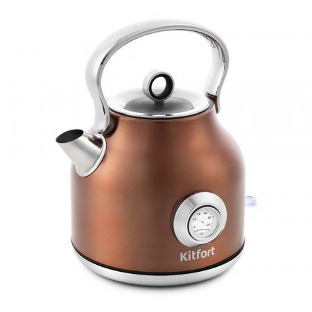 673-5-КТ Чайник Kitfort,Мощность: 1850–2200 Вт.Емкость: 1,7 л.Длина шнура: 0,78 м.Бронзовый чайник росинка эч 0 5 0 5 220 beige