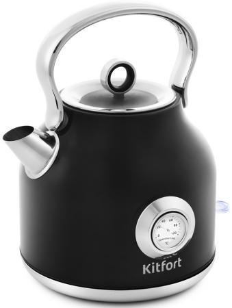 Фото - Чайник электрический KITFORT КТ-673-2 2200 Вт чёрный 1.7 л нержавеющая сталь чайник электрический kitfort кт 675 1 2200 вт белый 1 7 л нержавеющая сталь