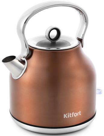 Фото - Чайник электрический KITFORT КТ-671-5 2200 Вт бронзовый 1.7 л нержавеющая сталь чайник электрический kitfort кт 675 1 2200 вт белый 1 7 л нержавеющая сталь