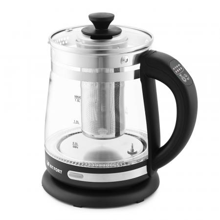 Чайник электрический KITFORT КТ-656 2200 Вт чёрный серебристый 1.5 л пластик/стекло недорого