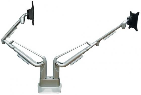 Фото - Кронштейн для мониторов ЖК Kromax OFFICE S20 серебристый 15-32 макс.15кг настольный поворот и наклон верт.перемещ. кронштейн