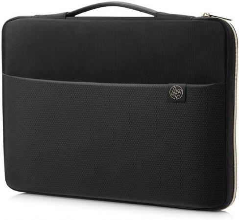 """Чехол для ноутбука 15"""" HP Carry Sleeve синтетика черный золотистый 3XD35AA цена и фото"""