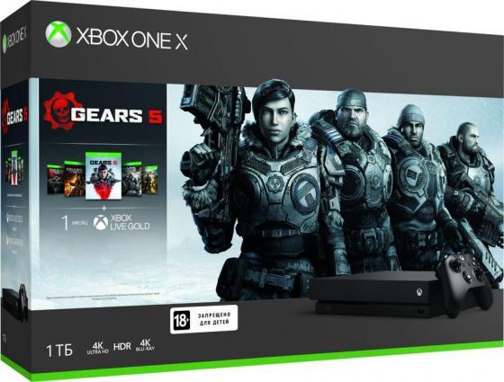 Игровая консоль Microsoft Xbox One X CYV-00331 черный в комплекте: игра: Gears 5 цена и фото