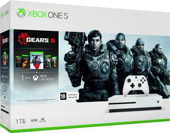 Купить Игровая консоль Microsoft Xbox One S 234-01030 белый в комплекте: игра: Gears 5