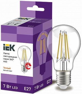 Iek LLF-A60-7-230-30-E27-CL Лампа LED A60 шар прозр. 7Вт 230В 3000К E27 серия 360° in home led a60 deco 7вт 230в е27 4000к 630лм прозрачная 4690612008059