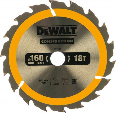 Фото - Диск пильный DeWalt CONSTRUCTION 160 ммx20 мм 18зуб DT1931-QZ пильный диск dewalt dt90249 construction 254 30 40t atb7 dt90249 qz