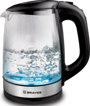 1040BR-BK Электрический чайник BRAYER Электрический чайник BRAYER, 2 л, стекл., черный. цена