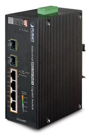 IP30 6-Port Gigabit Switch with 4-Port 802.3AT POE+ plus 2-port 100/1000X SFP (-40 to 75 C)