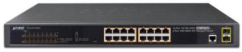 IPv6/IPv4, 16-Port Managed 802.3at POE+ Gigabit Ethernet Switch + 2-Port 100/1000X SFP (220W)