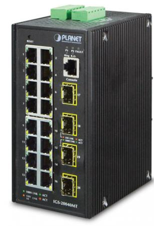 IP30 Industrial 16* 10/100/1000TP + 4* 100/1000F SFP Full Managed Ethernet Switch (-40 to 75 degree C, 2*DI, 2*DO), ERPS Ring, 1588