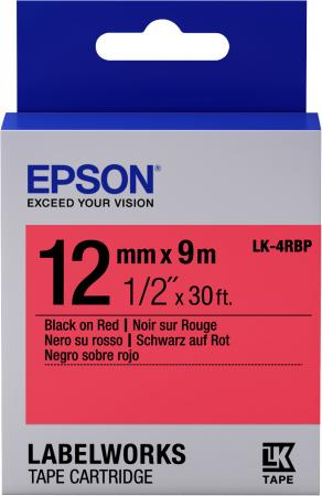 Фото - Epson Tape LK-4RBP Pastel Blk/Red 12/9 aagu free shipping 15mm 10m colorful foil washi tape high viscosity adhesive tape fresh designs paper tape for scrapbooking