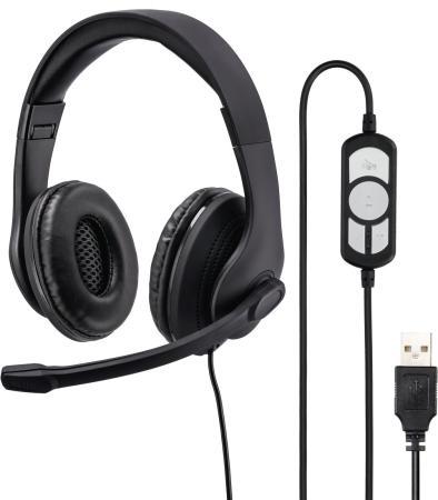 Фото - Наушники с микрофоном Hama HS-USB300 черный 2м мониторы оголовье (00139924) микрофон проводной hama allround 00139906 2м black