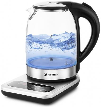 Чайник электрический Kitfort КТ-657 1.7л. 2200Вт нержавеющая сталь/черный (корпус: стекло) чайник электрический kitfort кт 651 1 7л 2200вт серебристый