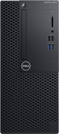 ПК Dell Optiplex 3070 MT i3 9100 (3.6)/4Gb/1Tb 7.2k/UHDG 630/DVDRW/Windows 10 Professional 64/GbitEth/260W/клавиатура/мышь/черный пк dell optiplex 3070 micro i3 9100t 3 1 8gb ssd256gb uhdg 630 windows 10 professional 64 gbiteth wifi bt 65w клавиатура мышь черный