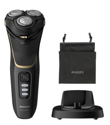 Бритва роторная Philips Series 3000 S3333/54 реж.эл.:3 питан.:аккум. черный/золотистый электробритва philips series 3000 s3333 54 black