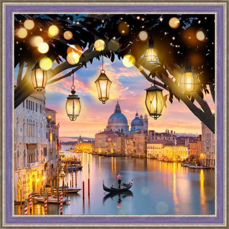 Алмазная живопись Вечерняя Венеция, 40*40 см постер в раме венеция 40 x 50 см
