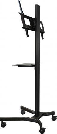 [M63] Мобильная стойка Wize Pro M63 для дисплеев 37 63+, Max VESA 723х501, высота 174 см, вертикальная регулировка, регулируемые полки, кабельный канал, наклон +15/-5°, до 68 кг, черн. (4 места)