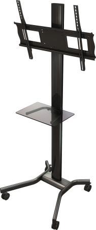 [MH63] Мобильная стойка Wize Pro MH63 для дисплеев 37 63+, Max VESA 723x501 мм, высота 183 см, вертикальная регулировка, регулируемые полки, кабель. канал, наклон +15/-5°, поворот +/-6°, до 68 кг, черн. - (4 места)