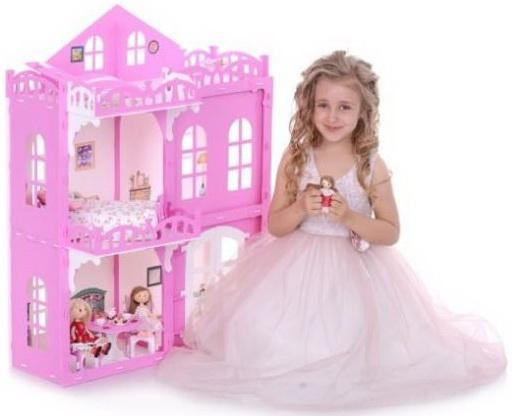 Домик для кукол Дом Элизабет бело-розовый с мебелью