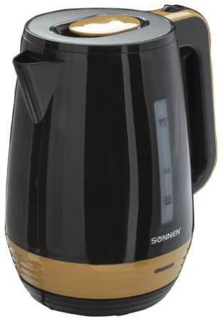 Чайник SONNEN KT-1776, 1,7 л, 2200 Вт, закрытый нагревательный элемент, пластик, черный/горчичный, 453418