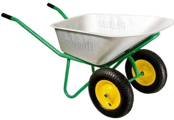 Тачка садово-строительная, 2-х колесная, усиленная, грузоподъемность 320 кг, объем 100 л// Palisad тачка садово строительная ми объем 90 л