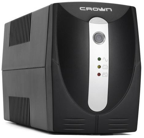 ИБП CROWN Line Interactive CMU-850X 850VA\\480W, корпус пластик, 1x12V/9AH, розетки 2*EURO, трансформатор AVR 155-295V, встроеный кабель питания 1.5 м, LED-индикация, защита: от перегрузки, от КЗ, от скачков напряжения