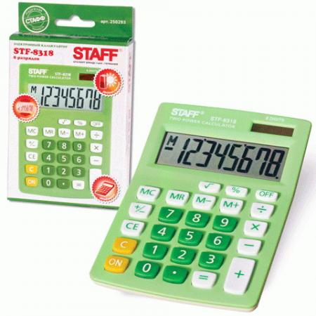 Калькулятор настольный STAFF STF-8318, КОМПАКТНЫЙ (145х103 мм), 8 разрядов, двойное питание, ЗЕЛЕНЫЙ, 250293