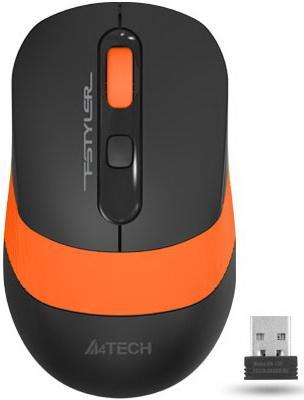 Мышь A4 Fstyler FG10 черный/оранжевый оптическая (2000dpi) беспроводная USB мышь беспроводная a4tech fstyler fg30 серый оранжевый usb