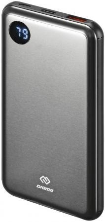 Мобильный аккумулятор Digma Power Delivery DG-10000-SML-BL Li-Pol 10000mAh 3A темно-серый 2xUSB мобильный аккумулятор hiper mpx20000 li pol 20000mah 3a 3a 2 4a серый 2xusb
