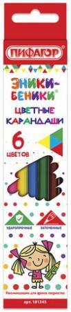 Карандаши цветные ПИФАГОР ЭНИКИ-БЕНИКИ, 6 цветов, классические заточенные, 181345 карандаши цветные пифагор эники беники 12 цветов классические заточенные 181346