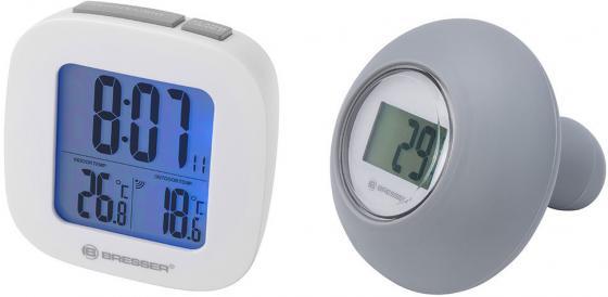 Термометр для ванной комнаты BRESSER MyTemp WTM, цифровой, сенсорный термодатчик воды, будильник, белый, 73272