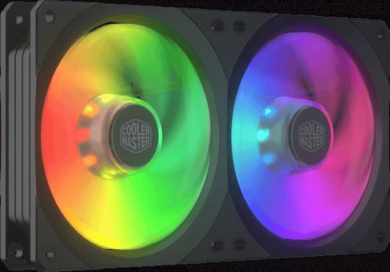Cooler Master MASTERFAN SF240R ARGB, 2x120mm, 4-Pin (PWM), ARGB, 2 pcs + ARGB LED Controller вентилятор cooler master masterfan sf240r argb 2x120mm argb mfx b2d2 18npa r1
