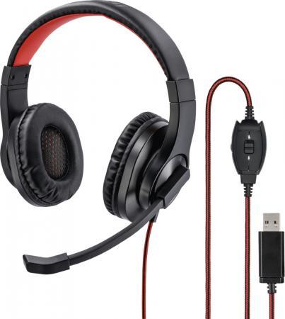 Купить Наушники с микрофоном Hama HS-USB400 черный/красный 2м накладные оголовье (00139927)