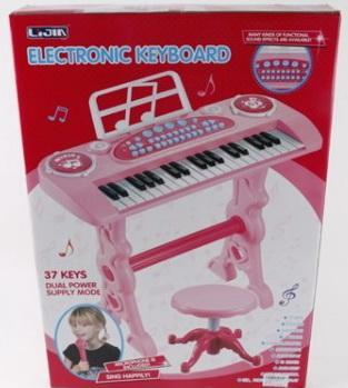Купить Электроорган 220V на бат. 37 клавиш, с микрофоном + стул 328-03 в кор. в кор.8шт, Shantou, Детские музыкальные инструменты