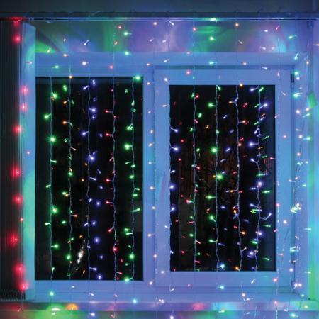 "Электрогирлянда светодиодная ЗОЛОТАЯ СКАЗКА ""Занавес"", 304 лампы, 2х2 м, многоцветная, контроллер, 591105 цены онлайн"