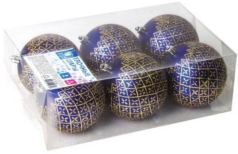 Шары елочные ЗОЛОТАЯ СКАЗКА, НАБОР 6 шт., пластик, 8 см, с золотистым рисунком, цвет синий, 590888