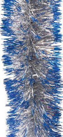 Мишура 1 штука, диаметр 70 мм, длина 2 м, серебро с синими кончиками, 5-180-7 цена