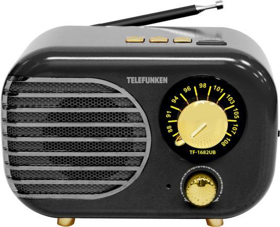 Радиоприемник настольный Telefunken TF-1682UB черный/золотистый USB microSD
