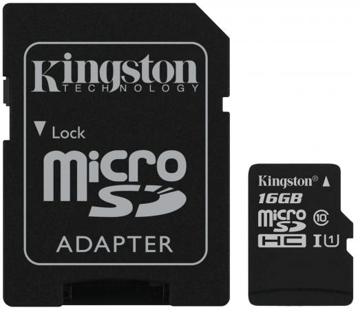 Micro SecureDigital 16Gb Kingston SDCS2/16GB {MicroSDHC Class 10 UHS-I, SD adapter}
