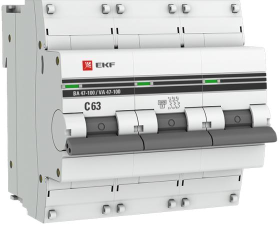 EKF mcb47100-3-63C-pro Автоматический выключатель 3P 63А (C) 10kA ВА 47-100 PROxima