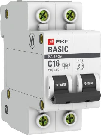 EKF mcb4729-2-16C Автоматический выключатель 2P 16А (C) 4,5кА ВА 47-29 EKF Basic