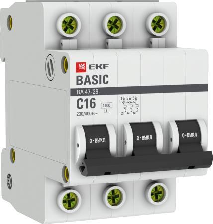 EKF mcb4729-3-16C Автоматический выключатель 3P 16А (C) 4,5кА ВА 47-29 EKF Basic