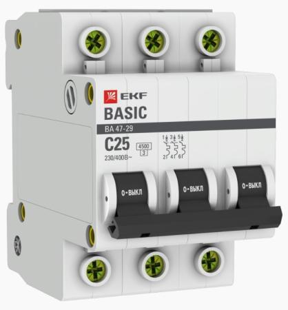 EKF mcb4729-3-25C Автоматический выключатель 3P 25А (C) 4,5кА ВА 47-29 EKF Basic