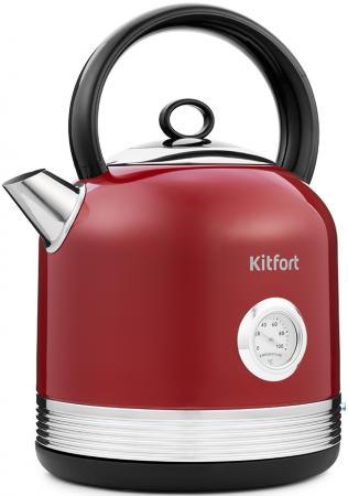Чайник электрический Kitfort КТ-682 2.5л. 2150Вт красный (корпус: нержавеющая сталь) чайник электрический kitfort кт 663 4 1 7л 2200вт мятный корпус металл