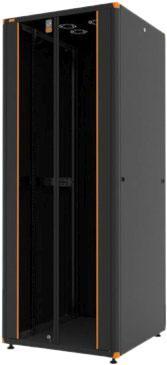 цена на Шкаф напольный EVOLINE 1926U600x600 передняя дверь одностворчатая стекло с металлической рамой слева и справа,задняя дверь одностворчатая сплошная металлическая,цвет черный