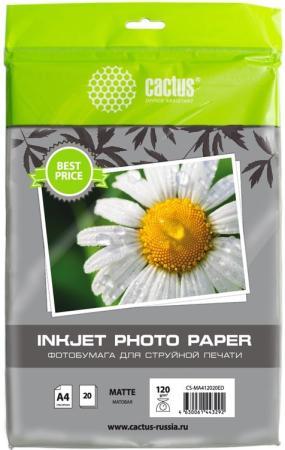 Фото - Фотобумага Cactus CS-MA412020ED A4/120г/м2/20л./белый матовое для струйной печати калька cactus cs lfptr72 620175 a1 620мм 175м 72г м2 белый для лазерной печати втулка 76 2мм 3