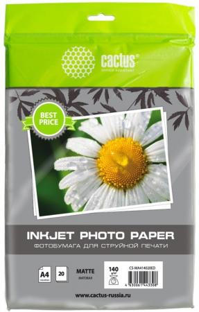Фото - Фотобумага Cactus CS-MA414020ED A4/140г/м2/20л./белый матовое для струйной печати калька cactus cs lfptr72 620175 a1 620мм 175м 72г м2 белый для лазерной печати втулка 76 2мм 3