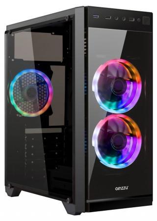Ginzzu E350 FAN 12CM RGB*3 1*USB 3.0,2*USB 2.0,AU Full Acrylic w/o PSU
