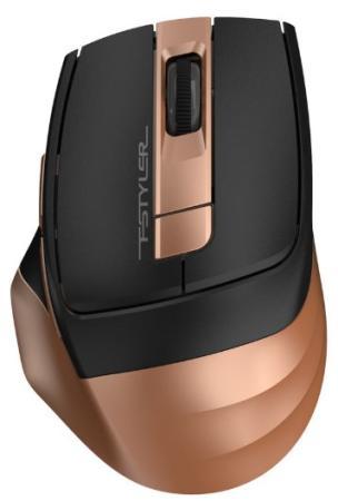 Мышь беспроводная A4TECH Fstyler FG35 чёрный золотистый USB